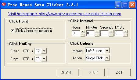 Click to view Free Mouse Auto Clicker 2.8.2 screenshot